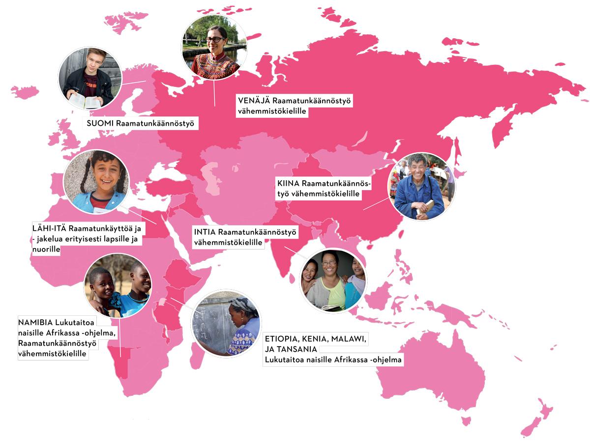 Kartta Pipliaseuran työkohteista 2020